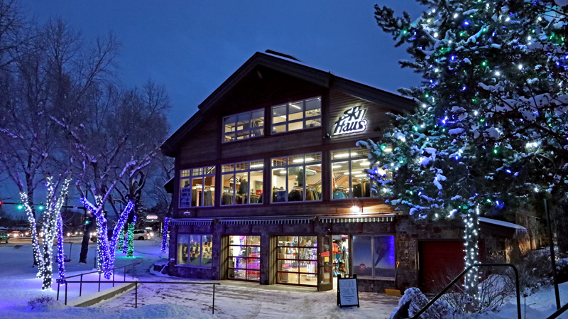 Holiday decorations and lights cover the ski haus in steamboat