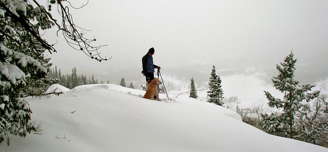 Snowhoeing in deep snow