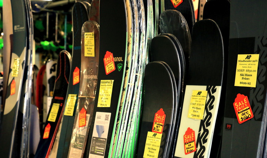 The alpine skis on sale during sale season at ski haus in Steamboat springs colorado