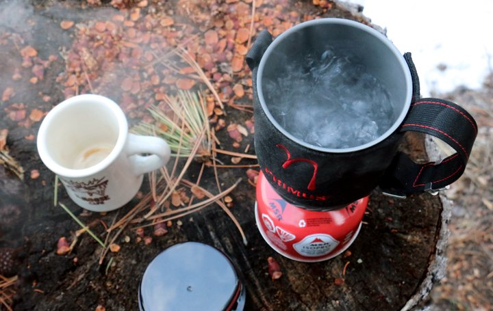 The primus lite+ camp stove brings water to a quick boil