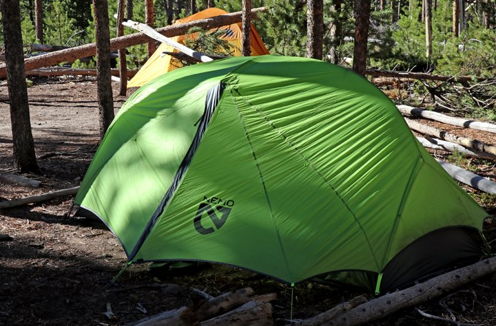 The nemo dragonfly tent setup in Rocky Mountain National Park in a lodgepole forest