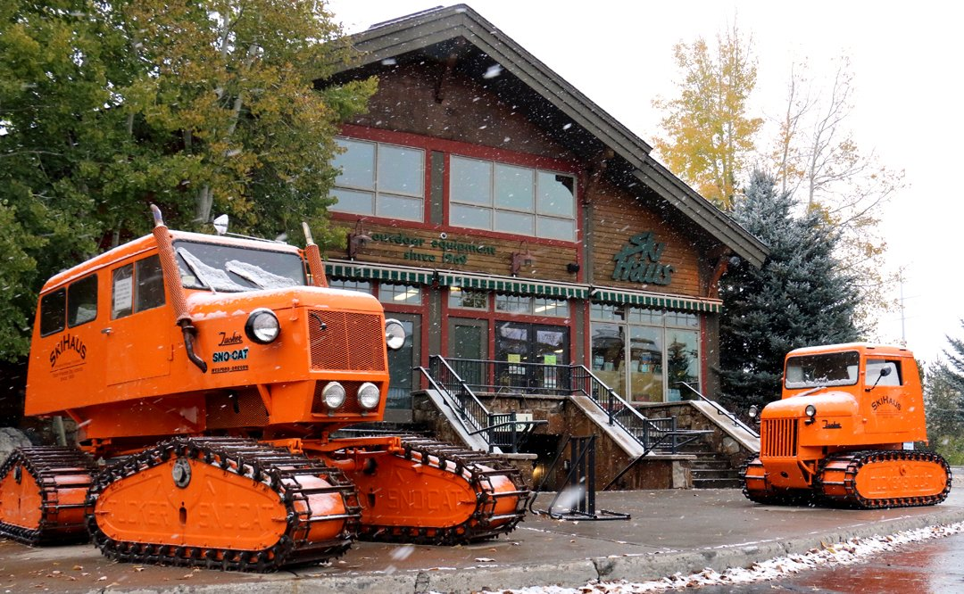 Snow falling outside the Ski Haus in Steamboat Colorado